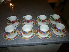 SET OF 8 COFFEE CUPS W/SAUCERS AND FRUIT DESIGN PATTERN DINER COFFEE TEA