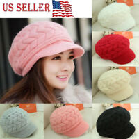 2018 NEW Women Beret Winter Knit Crochet Hat Lady Warm Baggy Beanie Ski Chic Cap