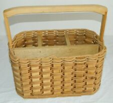 Wicker/Rattan 4 Section Caddy Holder Picnic Accessory Basket By Pioneer Baskets