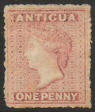ANTIGUA 1864 1d dull rose watermark star, mint no gum. SG 6. Cat.£120.