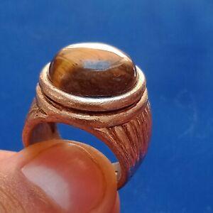 INTACT ANCIENT ROMAN SILVER RING CIRCA 100-400 AD
