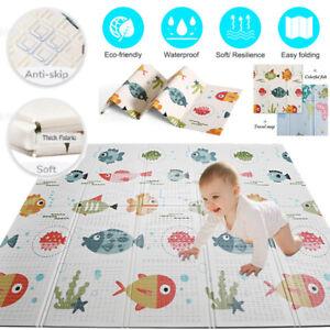 2 Sides Foldable Baby Mat Kid Crawling Play Pad Soft Foam Cartoon Carpet Gift UK