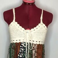 XXI Womens Tank Top S USA Made Printed Peasant Boho Crochet Bodice Ruffle Hem