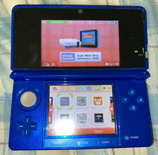 Nintendo 3ds Console Blue And Black With Charger Loaded With Games 3D