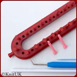 KnitUK Long Red Knitting Loom 26 Pegs + 26 Extra-Pegs. Knits: Bulky & Fine Yarns