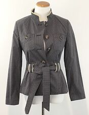 Gorgeous APOSTROPHE Womens Sz 6 Belted Jacket Ruffled Ribbon Trim Blazer Size 6