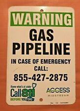 """Warning Gas Pipeline Texas Gas and Oil Fracking Field Metal Sign 10"""" by 7"""""""