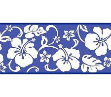 Hawaii Hawaiian White Hibiscus on Blue Wallpaper Border GU92201B