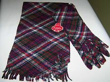 NOSWT VALISERE FOR MORGAN'S matching Plaid Scarf & Gloves (sz. 7) Made in France