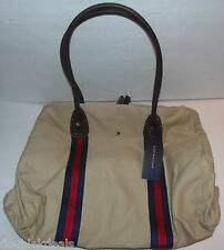 NEW LARGE TOMMY HILFIGER DUFFLE HANDBAG FOR GYM OR TRAVEL! TAN CANVAS