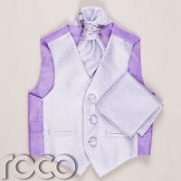 Boys Lilac Waistcoat Cravat Handkerchief Set Wedding Prom Christening