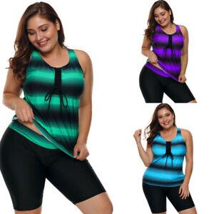 Women's Plus Size Stripe Tankini Set Swimsuit Bathing Suit Top + shorts Swimwear
