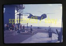 1976 US Navy Boeing CH-46 Sea Knight Helicopter Supply Drop - Vintage 35mm Slide