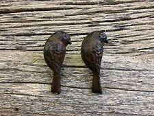 2 CAST IRON UPRIGHT BIRD CABINET PULLS DOOR DRAWER DRESSER KNOBS rustic hardware