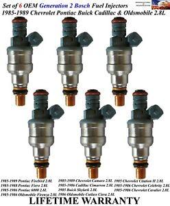 OEM Gen2 Bosch Set of 6 Fuel Injectors For 1985-1986 Oldsmobile Firenza 2.8L V6