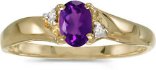 10k Yellow Gold Oval Amethyst And Diamond Ring (CM-RM1503-02)