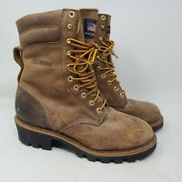 Thorogood Waterproof Logger Boot Mens 9.5 Brown Leather Lace Up 814-3551 USA