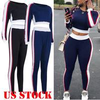 USA 2Pcs Women's Cropped Tracksuit Sweatshirt Pants Sets Sport Wear Casual Suit