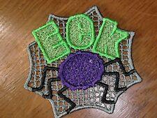 Embroidered - Halloween - EEK & Spider - Gray Backround