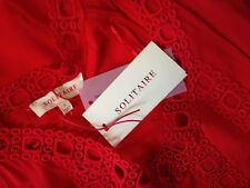 NWT Solitaire Sexy Red Eyelet Knit Designer Open Shoulder Flare Sleeve Top S
