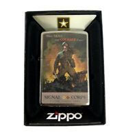 Zippo Custom Lighter  Brushed Chrome US Army Signal Corps Soldier War Poster