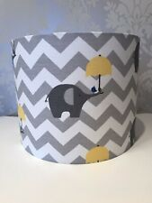 Lampshade In Grey And White Chevron With Yellow Elephants/Umberella 20cm Nursery