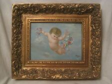 antique baby angel cherub oil painting deep ornate wood frame signed Day
