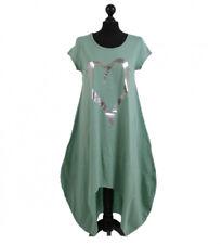 Lagenlook Heart Print Dipped Hem Cotton Balloon Dress Duck Egg Green