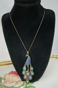"""Beautiful Statement Necklace 26"""" Long Ladies Peacock Stone Embellished Necklace"""