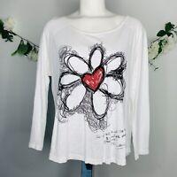 Desigual Women's Size Medium Floral 3/4 Sleeve White Top