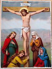 'Jesus Christ on the Cross' 1890 Color Litho Catholic Religious Print