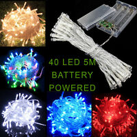 AA Battery Operated 40 LED Christmas Tree Fairy Garden Party String Lights 5M