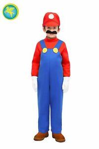 Costume di Carnevale Bambino Super Mario Colore Azzurro Made in Italy con Baffi