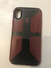 Speck CandyShell Grip iPhone XR Case Protector, Charcoal Grey/Red