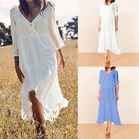 Women 3/4 Sleeve Plus Size Midi Dress Beach Holiday Lagenlook Summer Frill Dress