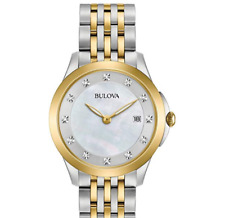 Bulova Ladies Diamond Women's Quartz Watch White Dial Analogue Display 98S161