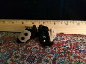 Mdme A Vintage Black/tan suede like Doll shoes w/snaps New~OSS 1-3/4 x 7/8 #109