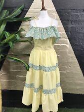 Original Vintage 1970s Cotton Yellow Ethnic Midi Dress With Ruffle Detail
