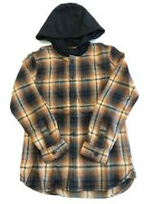 Vans New Lopes Button Down Heavyweight Hooded Shirt Youth Boy's Size Medium
