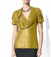 BCBG Green Ochre Short Sleeve Cowl Neck Top Green Women's XS Career Wear Dressy