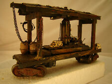 O scale Steam Logging Donkey - custom weathered - handcrafted - lot 17