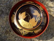 Japanese wooden vintage black bowl lid flower butterfly bud for misoshiru #3221