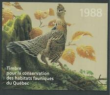 CANADA QUEBEC, # QU-1 WILDLIFE CONSERVATION BOOKLET STAMP 1988, RUFFED GROUSE