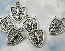6 Fleur de Lis Shield Charms Antiqued Silver Tone Pendants NOLA Fluer #P587