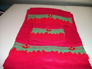3PC RED AND EMERALD GREEN  BATH TOWEL SETS