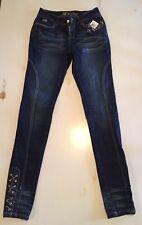 Dereon Virgo Medium Wash Skinny Jeans Gold Chain Embellished Pockets Ankles New