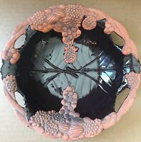 Clay Pottery Fruit  Bowl Bird Feeder Grape Art Claire Burke Brown
