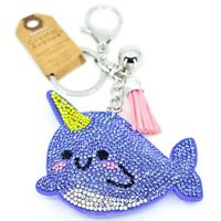 Pave Crystal Accent 3D Stuffed Pillow Narwhal Whale Keychain Key Chain