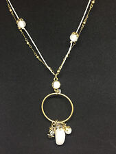 Gold Plated Hoop Necklace with Glass and Golden Accents