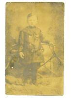 1909 Small Boy Posing By Interesting Furniture?  RPPC Postcard   C Photos